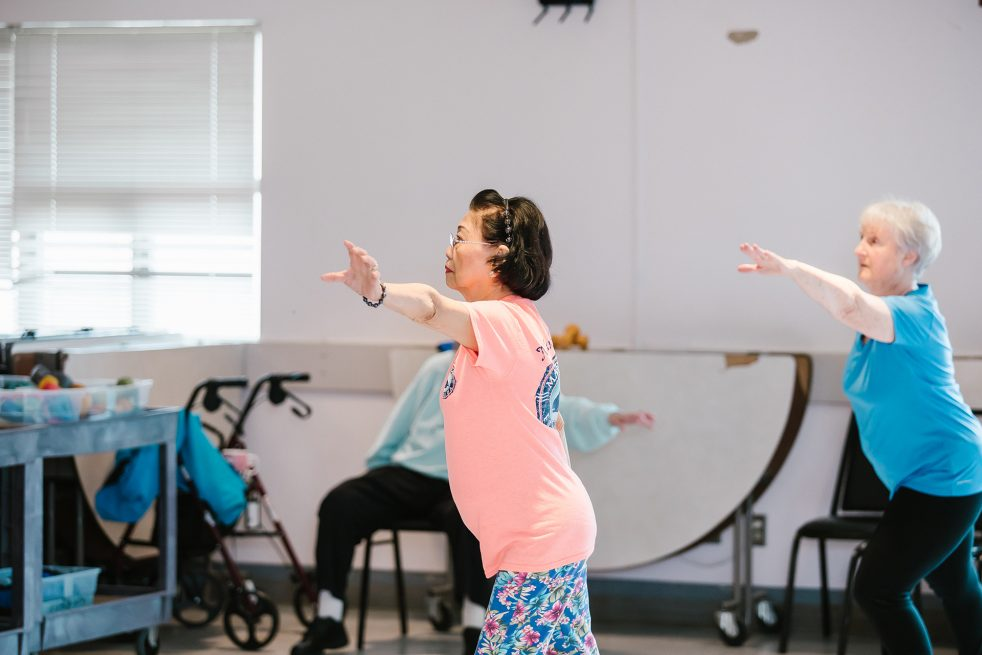older woman exercising at Shoreline Lake Forest Park Senior Center