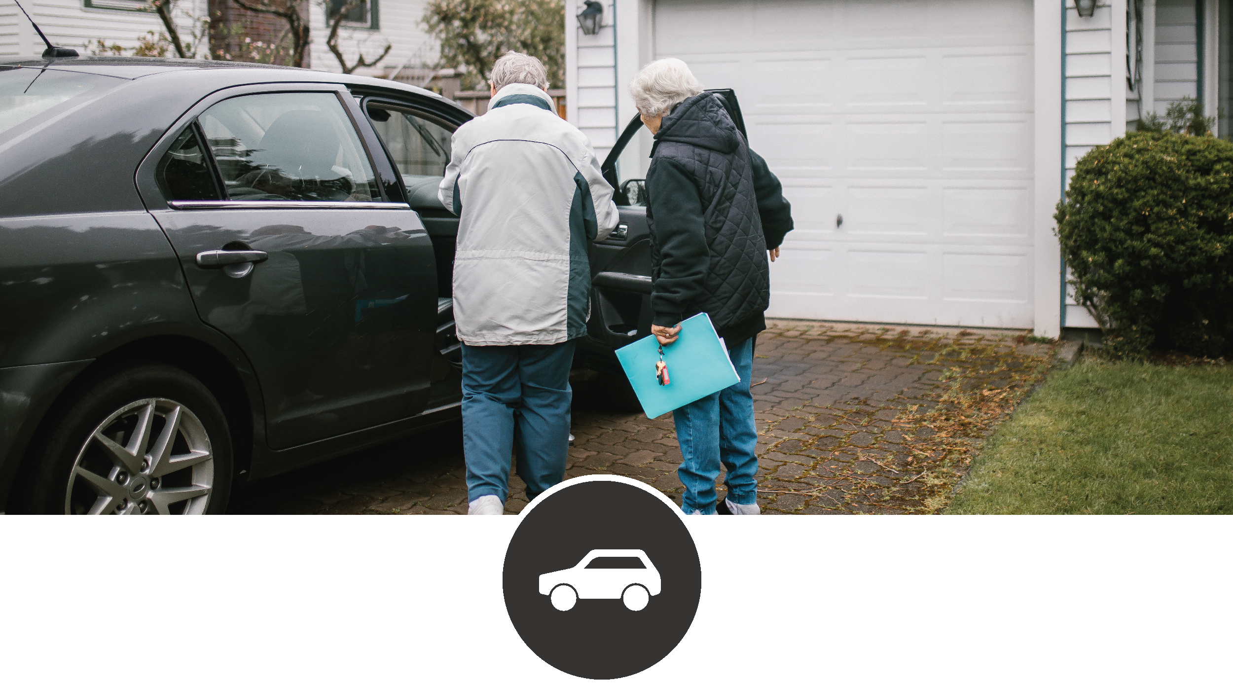 volunteer transportation header image, showing a client and driver getting into a car