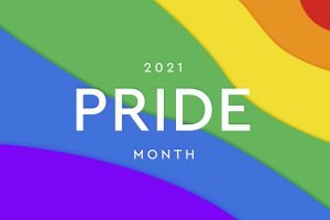 LGBTQI Gay Pride community. Pride month 2021. Multicolored rainbow flag