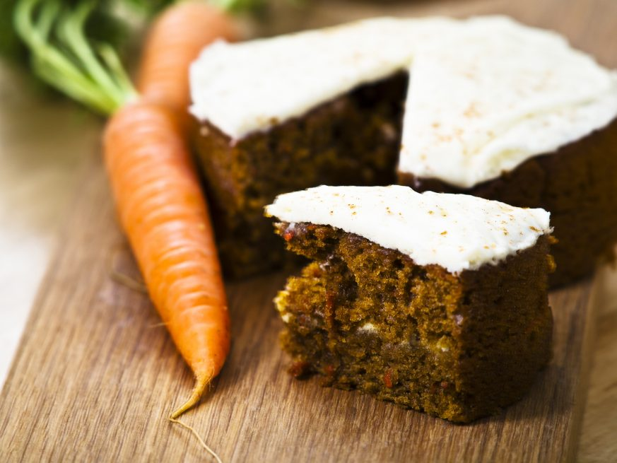 Image of carrots next to carrot cake
