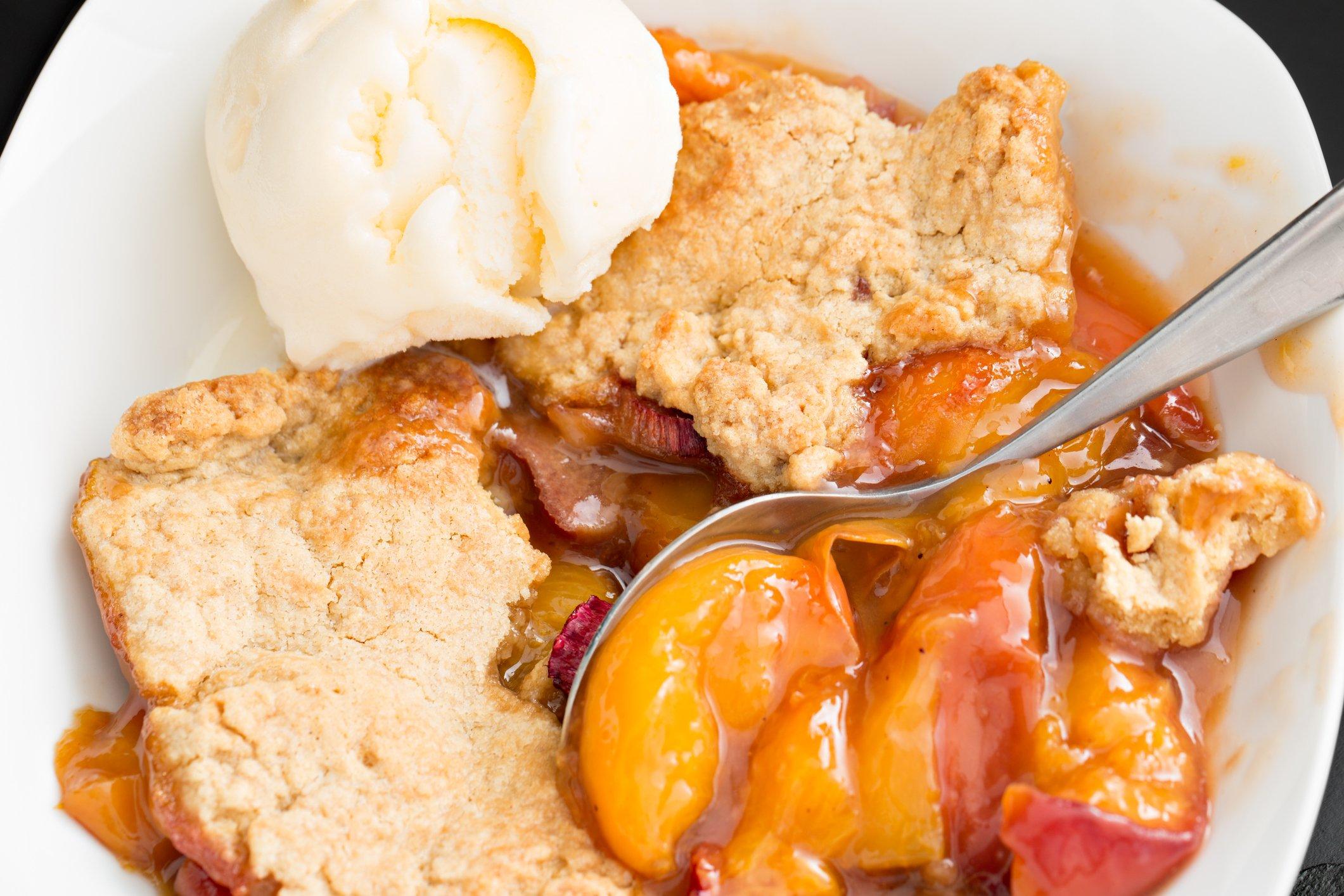 Peach Cobbler And Vanilla Ice Cream